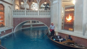 The gondola oarsman stopped and sang an Italian song.