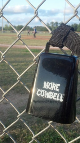Cowbell on baseball fence