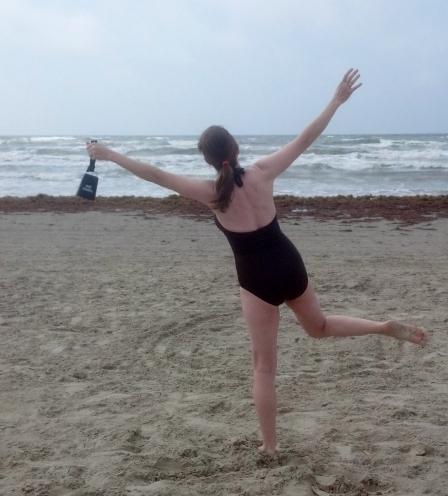 Julie & Cowbell on beach