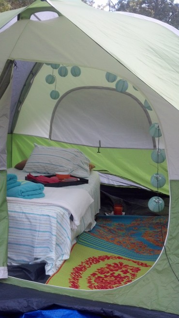 Decked out interior of the tent