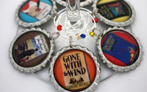 Book cover wine charms