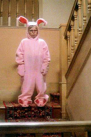 Ralph in pink bunny pajamas, from A Christmas Story movie