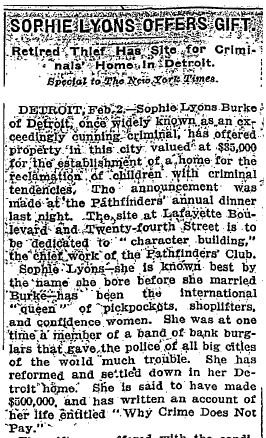 Article re Sophie Lyons