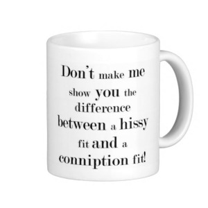 Hissy vs. Conniption Fit Mug - available from Zazzle.com