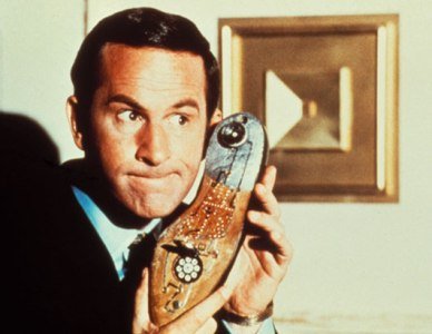 Maxwell Smart holding shoe phone, from Get Smart