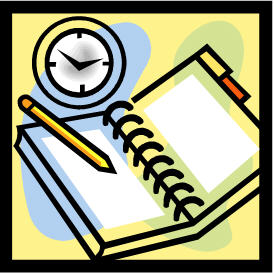 illustration of journal with clock above